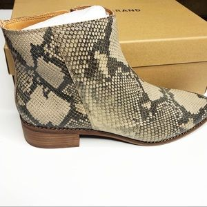 LUCKY BRAND LENREE ANKLE BOOTS. Snakeskin